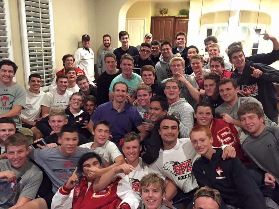 Drew Brees speaking to Santa Fe Christian football